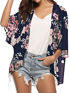 Donnalla Women's Floral Print Kimono Cardigan Cover Ups Short Sleeve Loose Long Tops Beach Cover Up