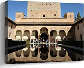 Wall Art Print Canvas Framed Artwork Home Decor(20×16 in)- Alhambra Palace Spain..