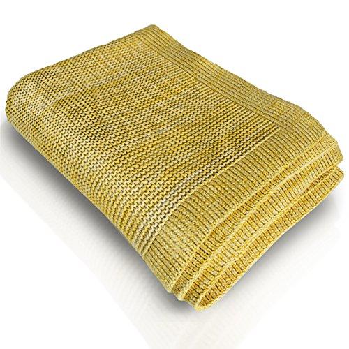 casa pura Couverture Chaude Coton 100% Naturel | épais Plaid tricoté | Jaune et Blanc Grosse Maille – Amelia, 130x170cm