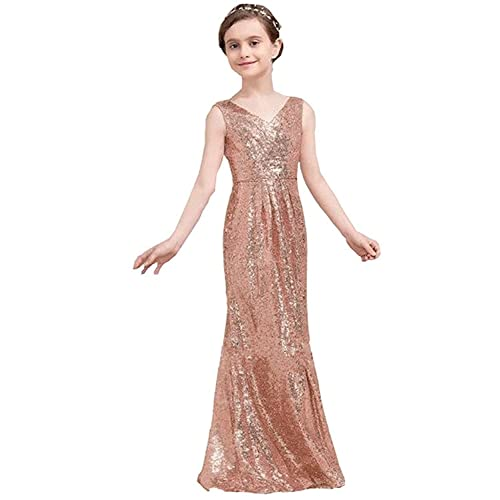 752a10a8dc hengyud Golds Sequins V-Neck Pageant Dress Long Flower Girl Bridesmaid Prom  Dress 77