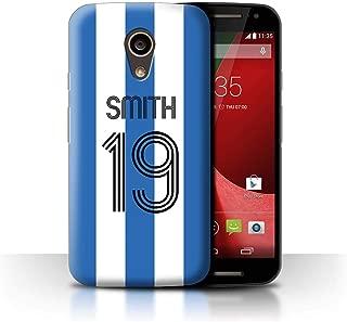 Personalized Custom Soccer Club Jersey Shirt Kit Case for Motorola Moto G 4G 2015 / Blue White Stripes Design/Initial/Name/Text DIY Cover