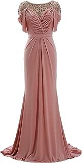 MACloth Women Short Sleeve Jersey Formal Evening Gown Scoop Neck Long Prom Dress
