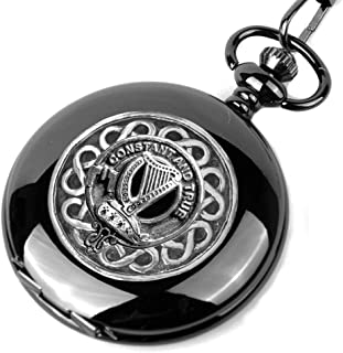 Rose Scottish Silver Clan Crest Black Pocket Watch
