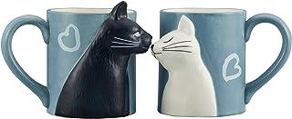 サンアート かわいい食器 「 黒ねこと白ねこ 」 キス ペア マグカップ 330ml グレー SAN2754-2