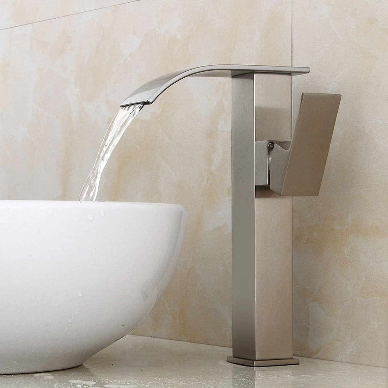 MGADERO Wasserhahn Bad Waschtischarmatur Moderne Messing gebürstet einzigen Griff 1 Loch Keramik Wasserfall Waschbecken Badarmatur Mischbatterie Waschbeckenarmatur für Bad