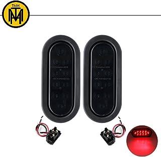 TMH (Pack of 2) 6 Inch 10 LED Smoked Lens Oval Flush Mount Red Stop Turn Signal Brake Marker Tail LED Light for Truck Trailer RV Bus 12V Rubber Grommet & Plug Included