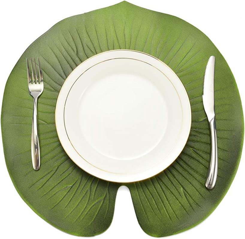 Potelin Premium Quality Placemat Artificial Lotus Leaf Kitchen Placemat Insulation Mat Bowl Anti Slip Table Decor Green