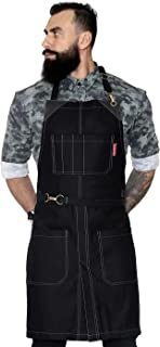 Under NY Sky No-Tie Opaque Black Apron - Durable Twill, Leather Reinforcement and Split-Leg - Adjustable for Men and Women - Pro Barber, Tattoo, Barista, Bartender, Baker, Hair Stylist, Server Apron
