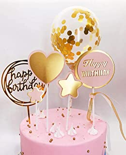 DeMissir Pack of 6,Happy Birthday Cake Toppers,A Series of 2 Layers Paper Golden Pink Bread Toppers, Acrylic Golden Cupcake Topper, Confetti Balloon Cake Supplies Decorations Set(Golden-6pcs/set)
