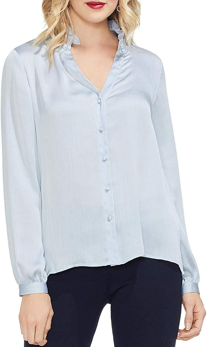 VINCE CAMUTO Women's Ruched Mock Neck Button Down Shirt Top