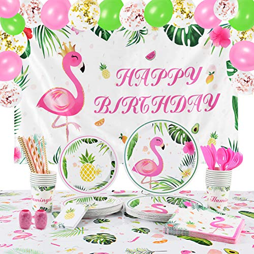 WERNNSAI Flamingo Birthday Party Supplies - Tropical Luau Theme Party Decoration for Girls HAPPY BIRTHDAY Backdrop Tablecloth Utensils Plates Cups Napkins Straws Balloons Cutlery Bag 16 Guests 168 PCS