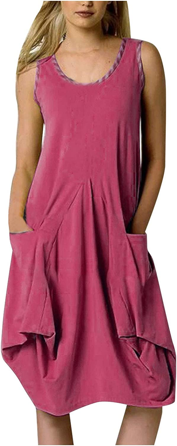 PAPIYON Womens Tshirt Dress with Pockets Scoop Neck Sleeveless Solid Color Knee Length Dress for Women Casual