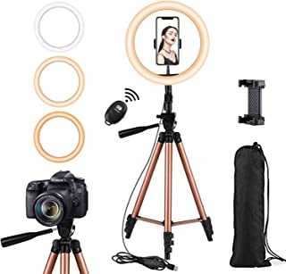Rimposky 26cm Selfie Ring Light with 127cm Extendable Tripod Stand & Flexible Phone Holder for YouTube/Live Stream,Mini Led Ringlight for Vlog/Video/Photography Compatible with iPhone/Android,Camera Tripod Stand