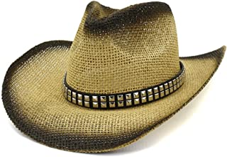 XinLin Du Women Men Western Straw Cowboy Hat Beach Hat Outdoor Seaside Holiday Sun Hat Visor Square Rivet Fashion