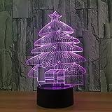 DFDLNL Lámpara 3D Árbol de Navidad Luz de Noche Bebé Led Mesita de Noche Lampe 7 Atenuación de Color Luz de Mesa 3D