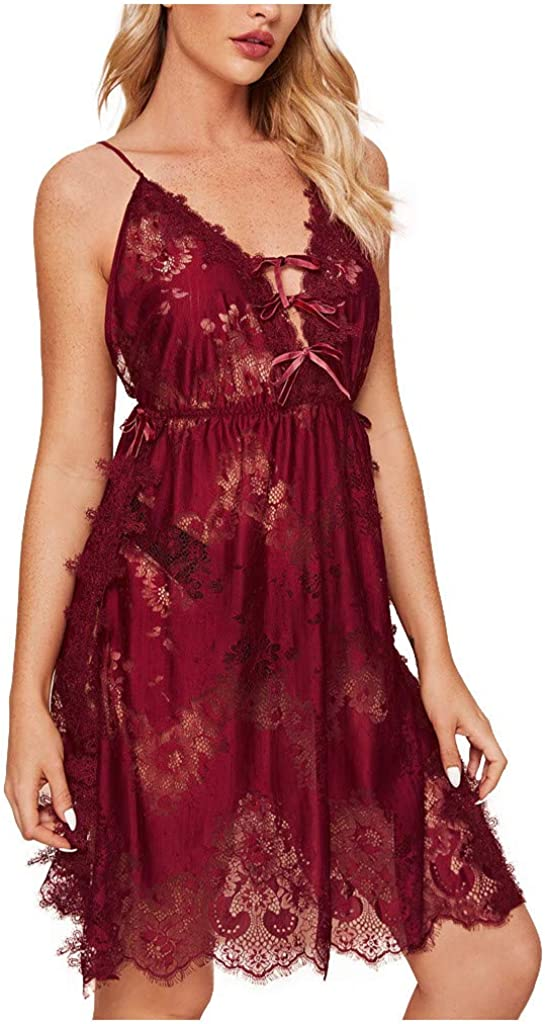 Gergeos Women's Sexy Lace Chemise Nightdress Babydoll Sexy Backless Lingerie Underwear