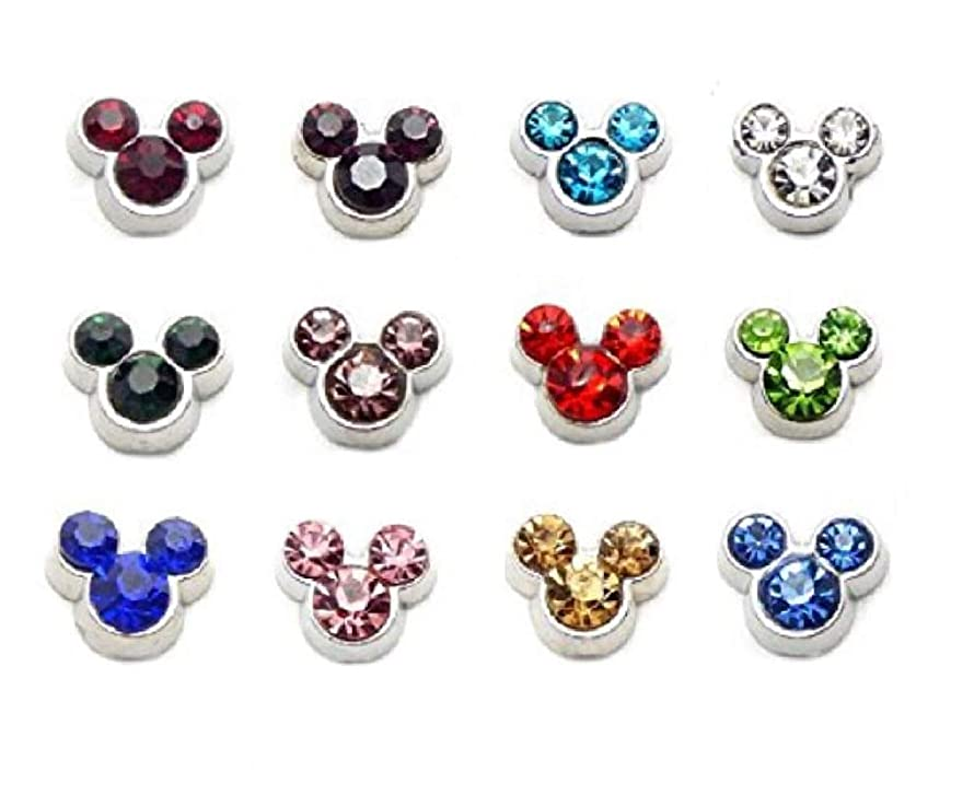 Cherityne Mickey Mouse Birthstones Theme Set of 12 Floating Charms for Locket Pendant