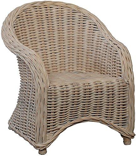 korb.outlet Kinderstuhl, Kindersessel aus Rattan in der Farbe Vintage Weiss