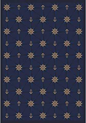 Joy Carpets Kaleidoscope Mariner's Tale Whimsical Area Rugs, 92-Inch by 129-Inch by 0.36-Inch, Navy
