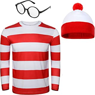Adult Men Red and White Striped Tee Shirt Glasses Hat Outfit Suit Set Halloween Cosplay Costume Party Props