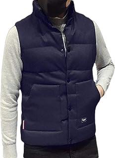 男性の秋と冬暖かいコットンベスト軽量パッキンノースリーブキルティングジャケットコート (色 : 青, サイズ さいず : XL)