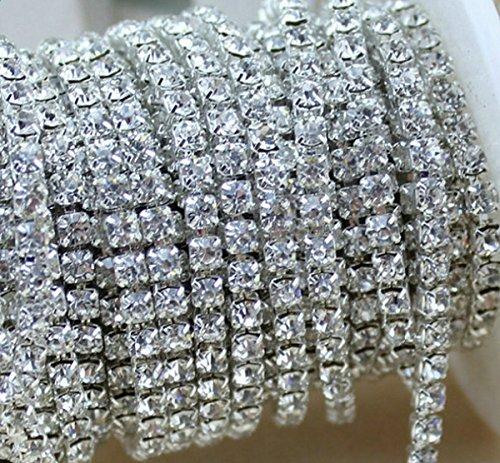 Aketek Crystal Rhinestone Close Chain Clear Trim 10 Yard Sewing Craft, 4mm - Silver Color