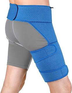 股関節サポーター すねサポート 着圧 股関節ベルト 腰 太もも サポーター ベルト 衝撃軽減 肉離れ 筋肉けが防止 調整可能 装着簡単 マジックテープ付け 快適な歩行をサポート 通気性に優れたネオプレン 男女兼用 左右兼用 ブルー