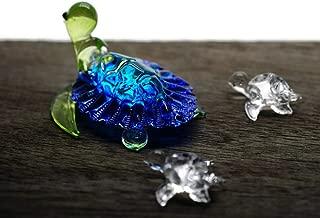 ChangThai Design 3 Pcs Aquarium Blue with Cute Baby Turtle HandBowl Glass Dollhouse Miniatures Decoration Figurine Collection