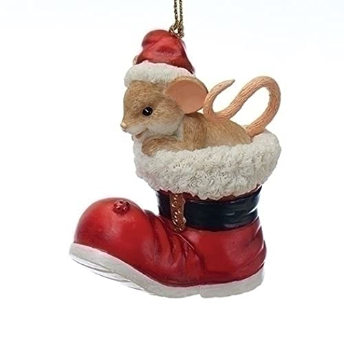 Roman Charming Tails 130449 Mouse Santa Boot Ornament 25 Anniversary 2017 - Christmas Mouse Ornaments: Amazon.com
