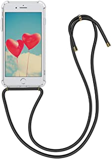 kwmobile Crossbody Case Compatible with Apple iPhone 7 Plus / 8 Plus - Clear Transparent TPU Cell Phone Cover with Neck Cord Lanyard Strap - Transparent/Black