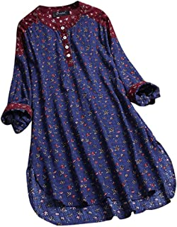 Fankle Sale Womens Vintage Linen Floral Print Blouse, Casual Loose Long Sleeve Tunic Top Plus Size Henley Shirt M-5XL