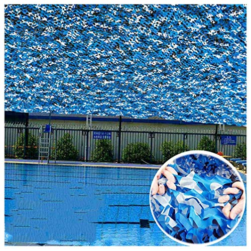 JYAJ Camouflage Net Camouflage netting Mesh Blue Tarp Shade Sails Fabrics Sun Visor Awnings Insulation Canopies Tent Breeze View Sun Visor for Garden Patio Army Hunting Hidden Shooting 5m 8m 10m 12m