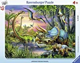 Ravensburger Dinosaurs at Dawn Frame 45 Piece Jigsaw Puzzle for Kids – Every Piece is Unique, Pieces Fit Together Perfectly