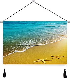 GULTMEE Wide Version Canvas Painting Hanging Poster Decor Wall Art Artwork, Tropical Island Beach Caribbean Atlantic Ocean Scenery Artwork Print,17.5 inches×24.5 inches