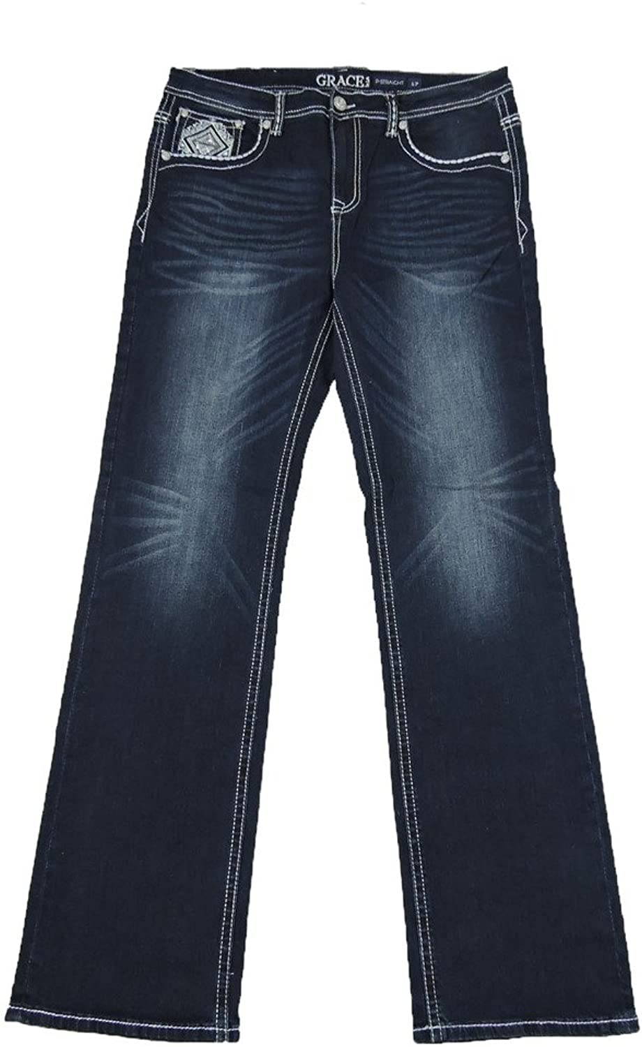 Grace L.A. Idol Women Plus Bootcut Jeans Mid Rise Tribal Aztec Stretch Dark bluee