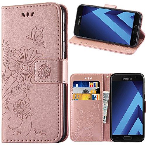 kazineer Galaxy A5 2017 Hülle, Samsung A5 2017 Handyhülle Leder Tasche Schutzhülle Blume Muster Etui für Samsung Galaxy A5 2017 Case (Pink-Gold)