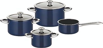 ELO Cookware 7 Piece Enameled Steel Cookware Set, Professional, Midnight Blue