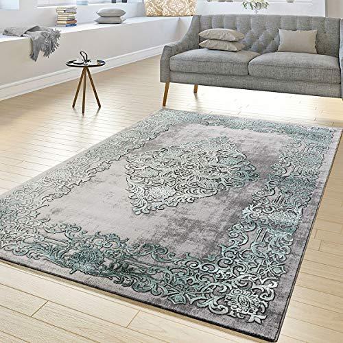 Hedendaagse tapijt woonkamer tapijten hoog diepe structuur ornamenten in grijs turquoise