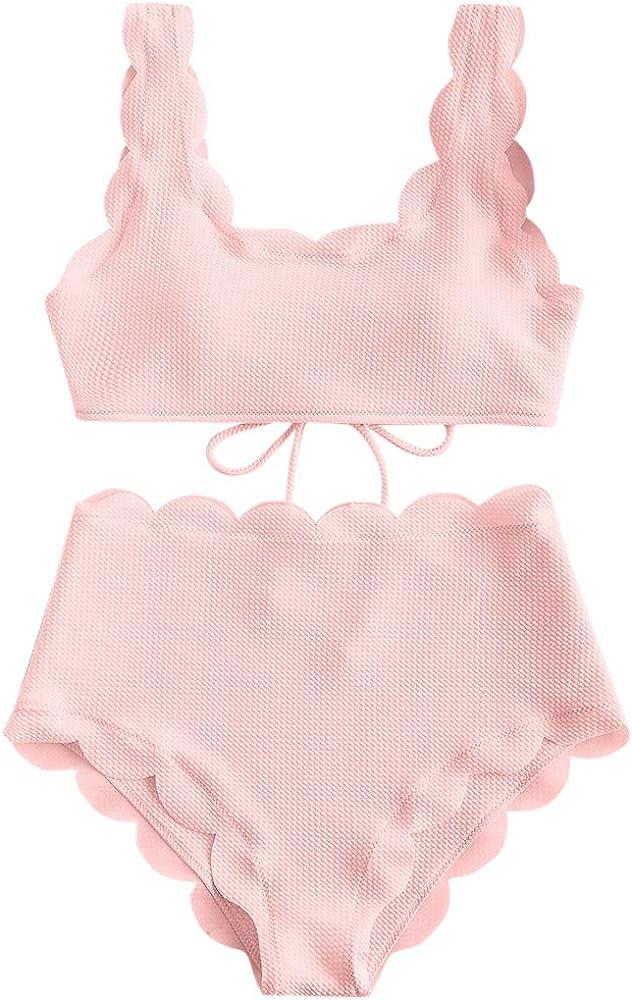 ZAFUL Women's High Waisted Wide Strap Adjustable Back Lace-up Bikini Set Swimsuit