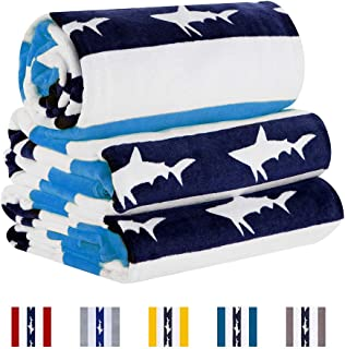 CABANANA Large Oversized Beach Towel - Velour Cotton Print 35 x 70 Inch Blue Cyan Striped Sand Free Pool Towel, Big Summer...