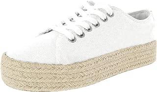 Athlefit Women's Espadrille Sneakers Flatform Lace up Platform Tennis Shoes High Sole