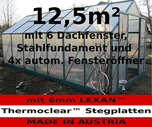 12,5m² PROFI ALU Gewächshaus Glashaus Treibhaus inkl. Stahlfundament u. 6 Fenster, mit 6mm Hohlkammerstegplatten - (Platten MADE IN AUSTRIA/EU) inkl. 4 autom. Fensteröffner von AS-S