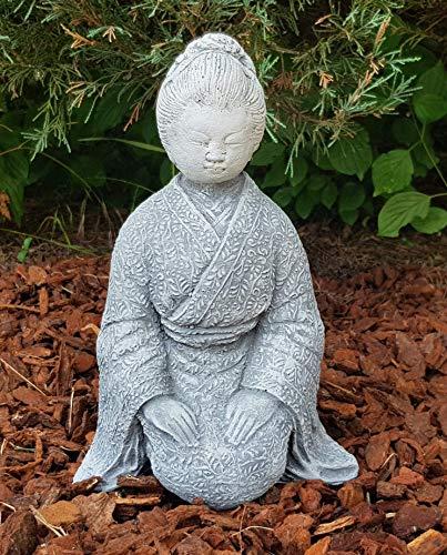 Steinfigur Geisha mit schönem Kimono handbemalt japanische Deko Zen-Garten Terassen Wohnzimmer Gartenfiguren frostfest