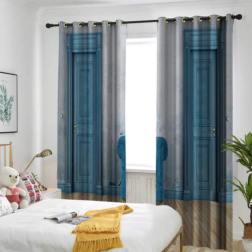 one1love Cortina de puerta corredera azul antiguo con dos puertas y espejo simple con marco dorado