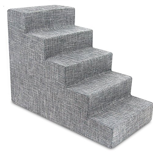 USA Made Pet Steps/Stairs with CertiPUR-US Certified Foam for Dogs & Cats by Best Pet Supplies - Gray Linen, 5-Step (H: 22.5)