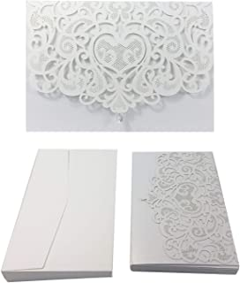 50PCS Paper Laser Cut Bronzing Wedding Baby Shower Invitation Cards with Butterfly Hollow Favors Invitation Cardstock for Engagement Birthday Graduation (Diamond-White)