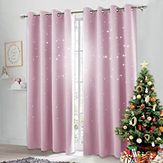NICETOWN Star Cut Out Curtains - Die-Cut Star Blackout Drapes Window Treatment Draperies for Space Theme Bedroom (Lavender Pink=Baby Pink, 2 Panels, 52 inches x 84 inches)