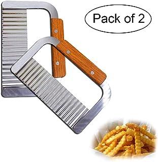 Cortador de papas, paquete de 2 herramientas de corte de arrugas Papas fritas Papas fritas Cortadora Cuchilla de acero inoxidable Mango de madera Ensalada de verduras Cuchillo de corte
