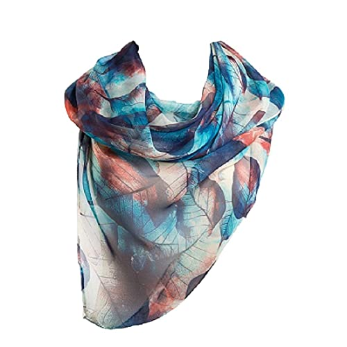 96c292b5bfc Ziory Blue 1 Pc fashion leaves printing long georgette silk scarf for Girls  and Women
