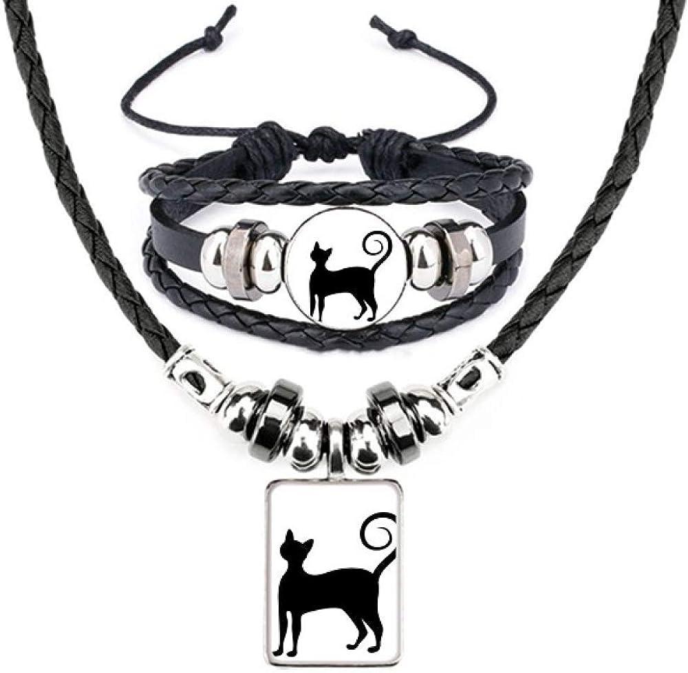 Black Cat Mewing Elegant Animal Silhouette Leather Necklace Bracelet Jewelry Set